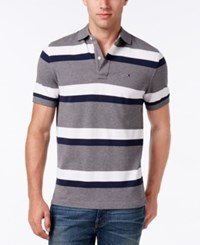 Tommy Hilfiger Men's Ace Striped Polo Charcoal Grey