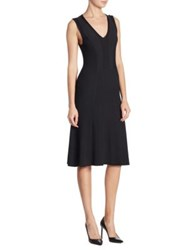 Saks Fifth Avenue Collection Ribbed A Line Dress Black