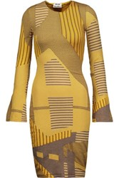 Acne Studios Radella Glittered Intarsia Knit Midi Dress Yellow