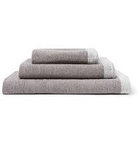 Cleverly Laundry Set Of Three Striped Superfine Cotton Terry Towels Gray