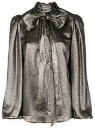 Saint Laurent Metalized Bow Blouse Metallic