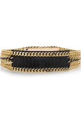 Balmain Chain Trimmed Croc Effect Leather Waist Belt Black