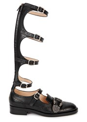 Gucci Queercore Black Leather Brogue Gladiator Boots