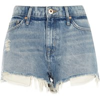 River Island Womens Light Blue Wash Mid Rise Ripped Hot Pants
