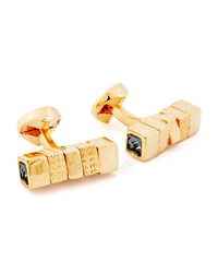 Ermenegildo Zegna Square Rotating Bar Cuff Links W Crystals Yellow Black Gold