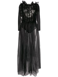 Alchemy Ruffle Chest Backless Tulle Gown 60