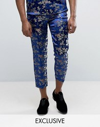 Reclaimed Vintage Brocade Trousers Navy