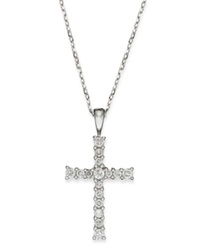 Macy's Diamond Cross Pendant Necklace In 14K Gold 1 4 Ct. T.W.