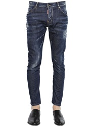 Dsquared 16Cm Sexy Twist Real Wash Denim Jeans Blue