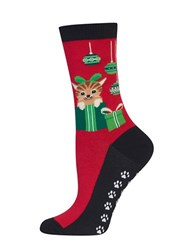 Hot Sox Cats And Ornaments Socks Red