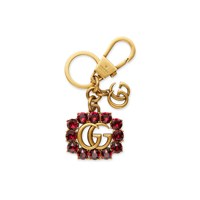 Gucci Metal Double G With Crystals Keychain Gold
