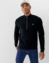Fred Perry Half Zip Pique Sweat In Black Black