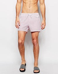 Asos Short Length Swim Shorts In Red With Seersucker Stripe Red