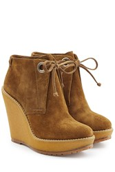 Burberry Shoes And Accessories Suede Ankle Boot Wedges Brown