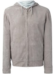 Brunello Cucinelli Hooded Leather Jacket Grey