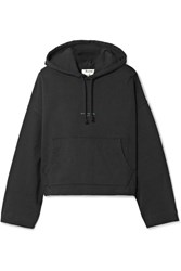 Acne Studios Joggy Cropped Cotton Jersey Hooded Top Black