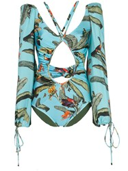Patbo Tropical Print Long Sleeved Swimsuit 60