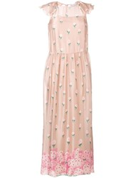 Red Valentino Floral Print Maxi Dress Pink