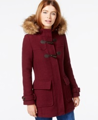 Madden Girl Madden Girl Faux Fur Trim Textured Duffle Coat