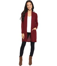 Brigitte Bailey Jann Ribbed Cardigan With Pockets Wine Women's Sweater Burgundy