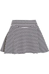 Jay Ahr Studded Striped Cotton Pique Mini Skirt Blue
