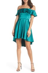 Sequin Hearts Off The Shoulder Satin High Low Cocktail Dress Emerald