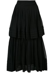 Carolina Herrera Ruffled Chiffon Skirt Black