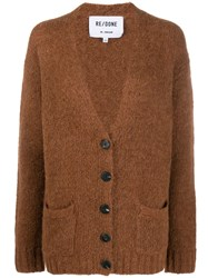 Re Done Colour Block Cardigan Brown