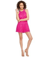 Adelyn Rae Jaclyn Woven Lace Romper Hot Pink Women's Jumpsuit And Rompers One Piece