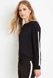 Forever 21 Faux Pearl Trimmed Sweater Black Cream