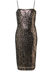 Milly Leopard Print Glitter Dress Gold