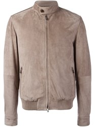 Tod's Zipped Leather Jacket Grey