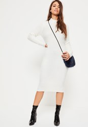 Missguided White Fluffy Knitted High Neck Midi Dress Ivory