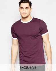 Farah T Shirt With F Logo Slim Fit Exclusive Short Sleeves Bordeaux Red