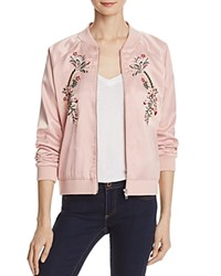 Aqua Embroidered Bomber Jacket Dusty Pink