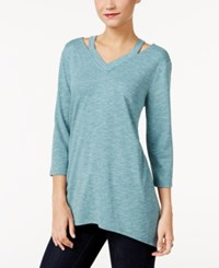 Styleandco. Style Co. Cutout Handkerchief Hem Tunic Only At Macy's Green Nectar