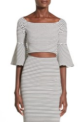 Women's Missguided Stripe Bell Sleeve Crop Top