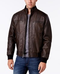 Calvin Klein Men's Faux Leather Stand Collar Bomber Jacket Heritage Brown