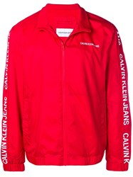 Calvin Klein Jeans Zipped Up Bomber Jacket Red
