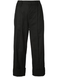Vince High Waisted Cropped Trousers Black