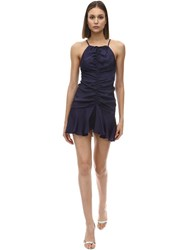 Alice Mccall Blue Moon Viscose Satin Mini Dress Indigo