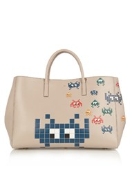 Anya Hindmarch Ebury Maxi Space Invaders Leather Tote Grey Multi