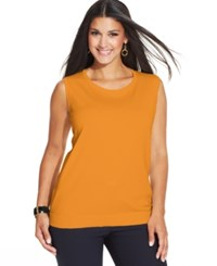 August Silk Plus Size Sleeveless Shell Top Old Gold