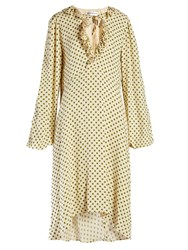 Balenciaga Ruffled Polka Dot Print Georgette Dress Beige Multi
