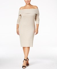 Ing Trendy Plus Size Off The Shoulder Sweater Dress Only At Macy's Oatmeal