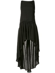 Martin Grant Asymmetric Hem Shift Dress Women Silk Linen Flax 38 Black