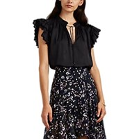 Ulla Johnson Myra Embroidered Satin Blouse Black