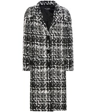 Dolce And Gabbana Wool Blend Tweed Coat Multicoloured