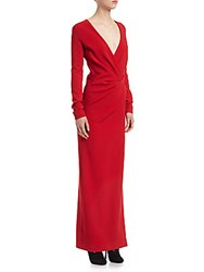 Lanvin Wrap Ruched Column Gown Red
