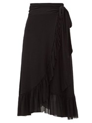 Ganni Flocked Dot Print Ruffled Mesh Wrap Skirt Black
